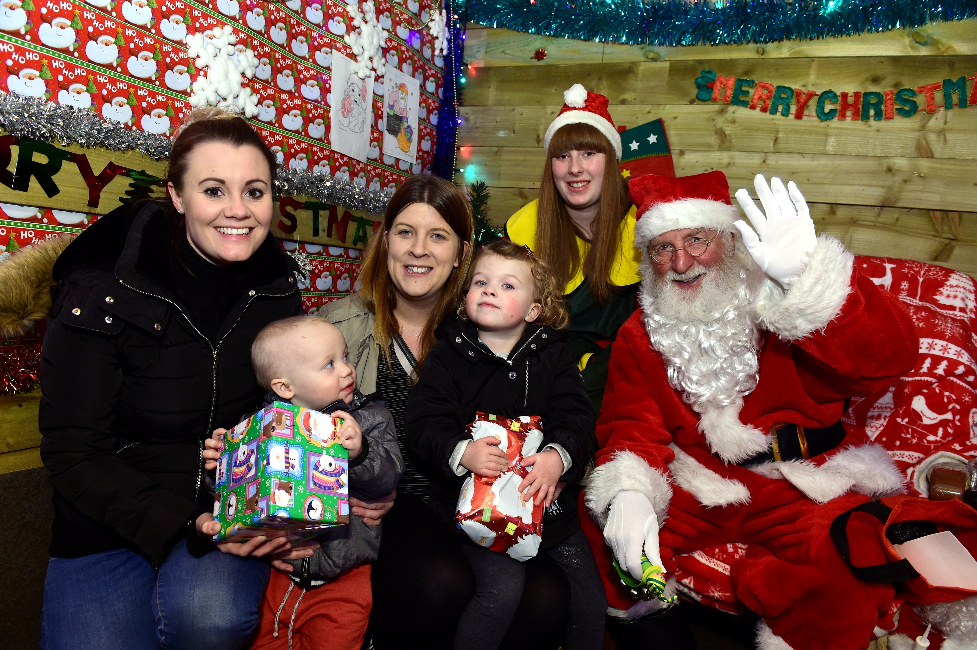 Keery Durno with Cloe Flett and Stephanie McHugh with Mia Durno, visited Santa at BA Stores