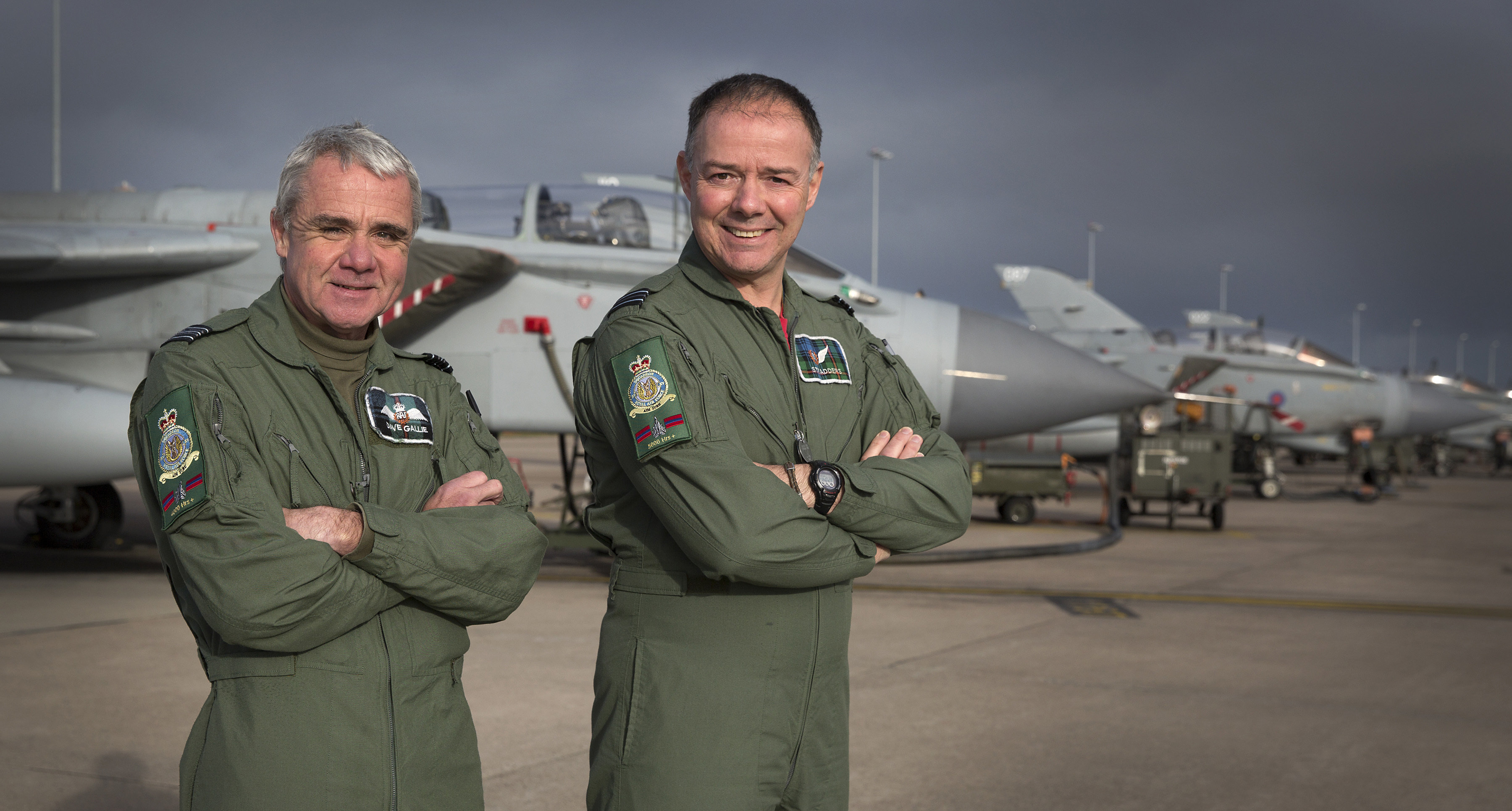 Squadron Leader Gallie (left) and Flight Lieutenant Stradling (right) of XV (Reserve) Squadron at RAF Lossiemouth have collectively amassed 10,000 hours flying time in a Tornado.