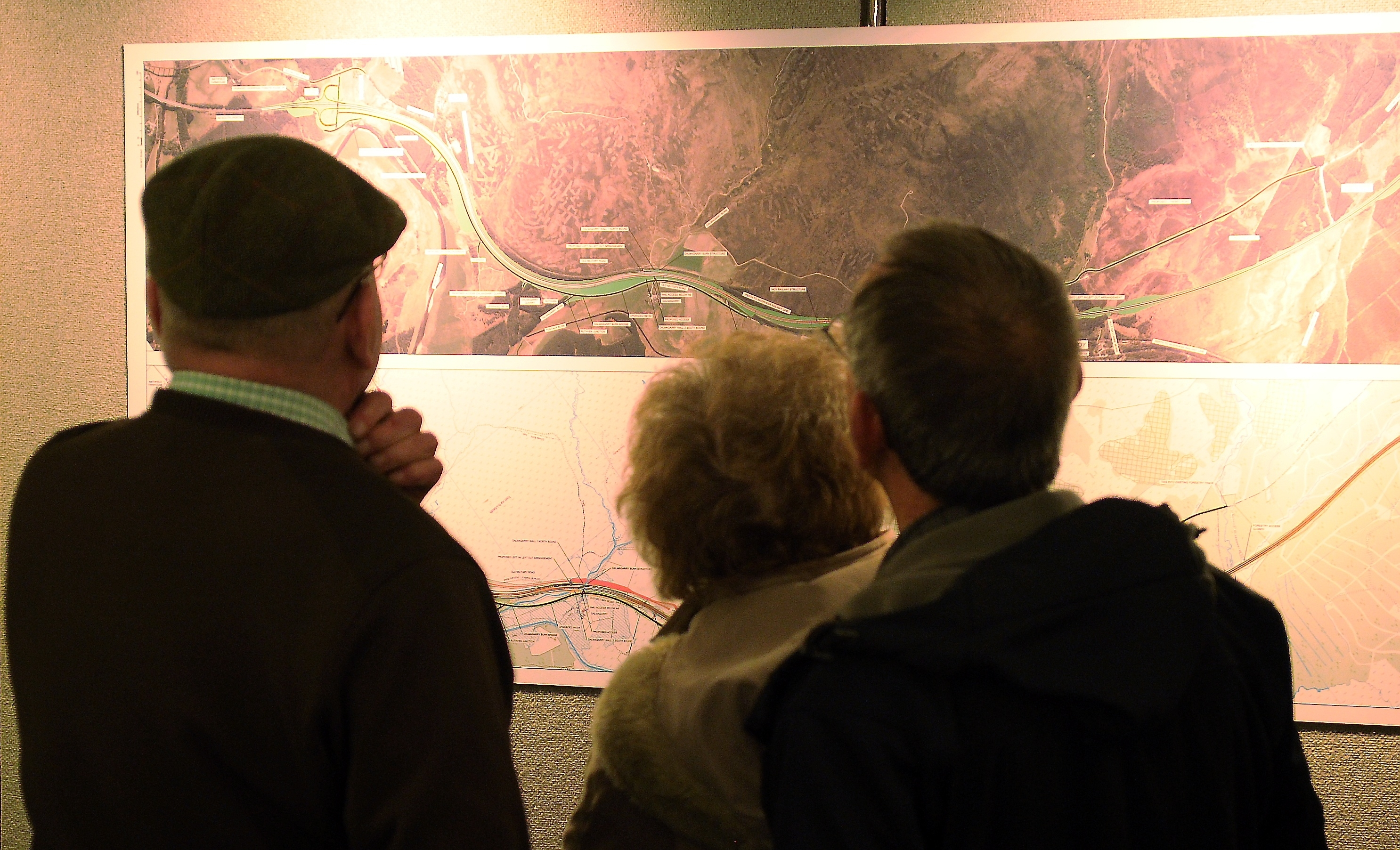 The preferred route for the Tomatin to Moy section of the new A9 was on display in Strathdean Hall, Tomatin yesterday afternoon.