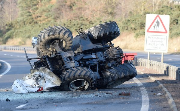 Tractor crash on A9 near Inshes