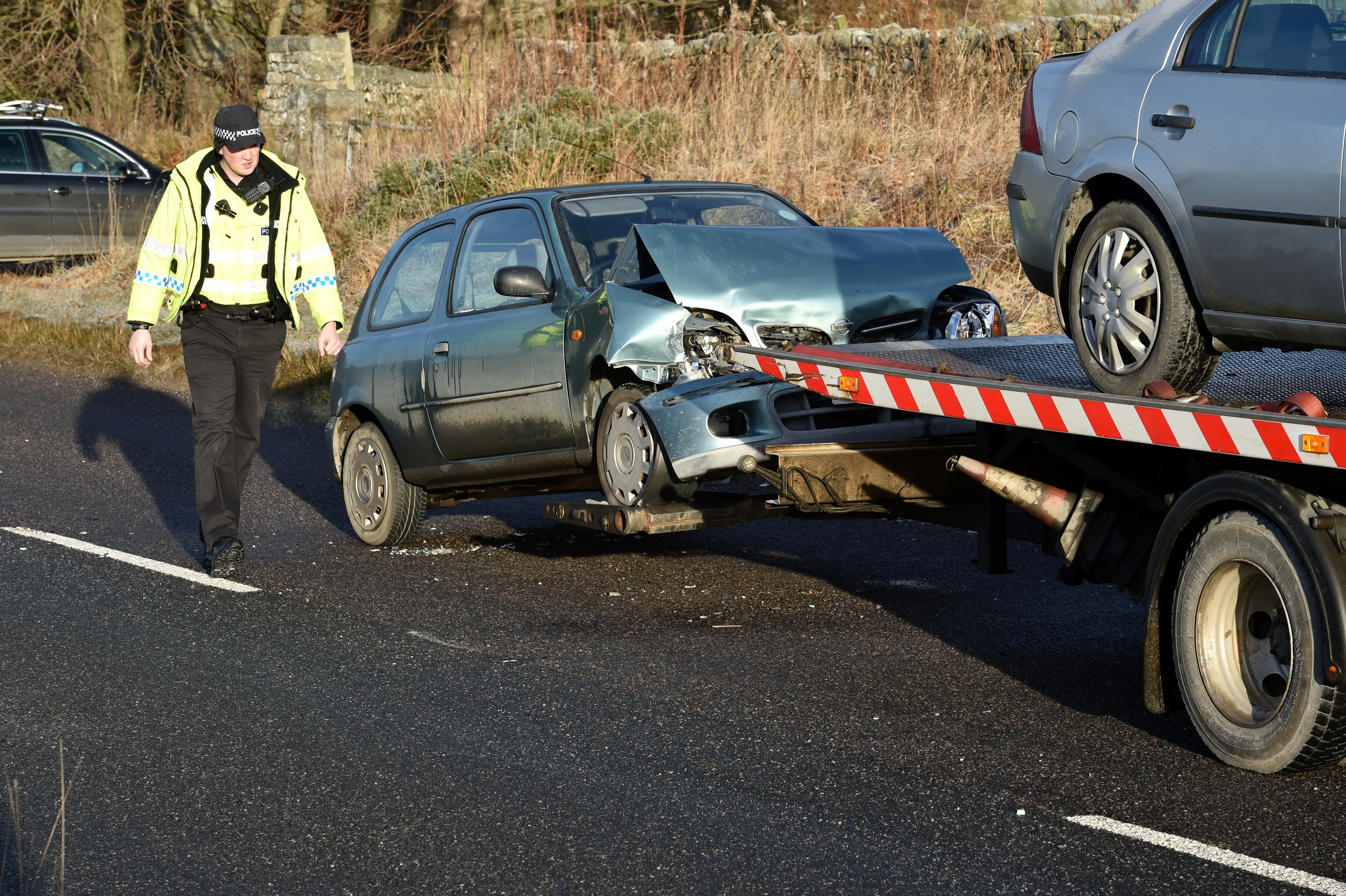 A two vehicle accident on the A944 outside Elrick
