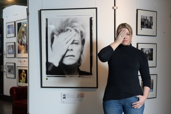 Jo Chandler from Off Beat Lounge at the Denis O'Regan, David Bowie Photography exhibition in Glasgow.