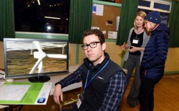 James Baird of Coriolis Energy at the Glendye wind farm exhibition, Strachan Village Hall
