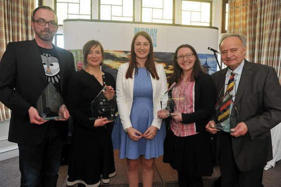 Chamber chief executive Sarah Medcraf, centre, with the award winners, L-R: Stuart Cox, I Like Birds, Kresanna Aigner, Findhorn Bay Arts, Alison Rose, Spey Bay Whale and Dolphin Centre, and George Goudsmit, AES Solar.
