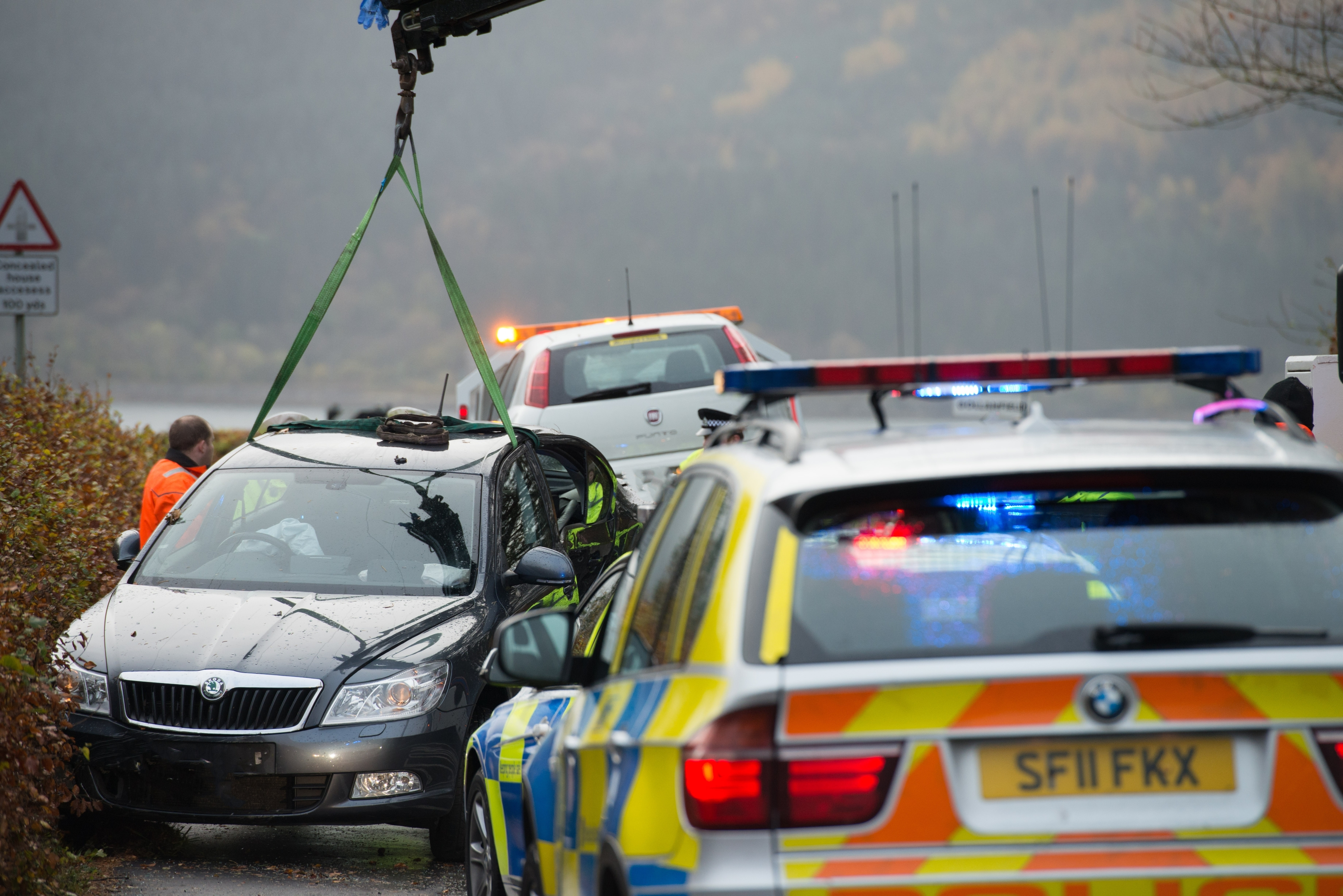 The road was closed while the cars were recovered