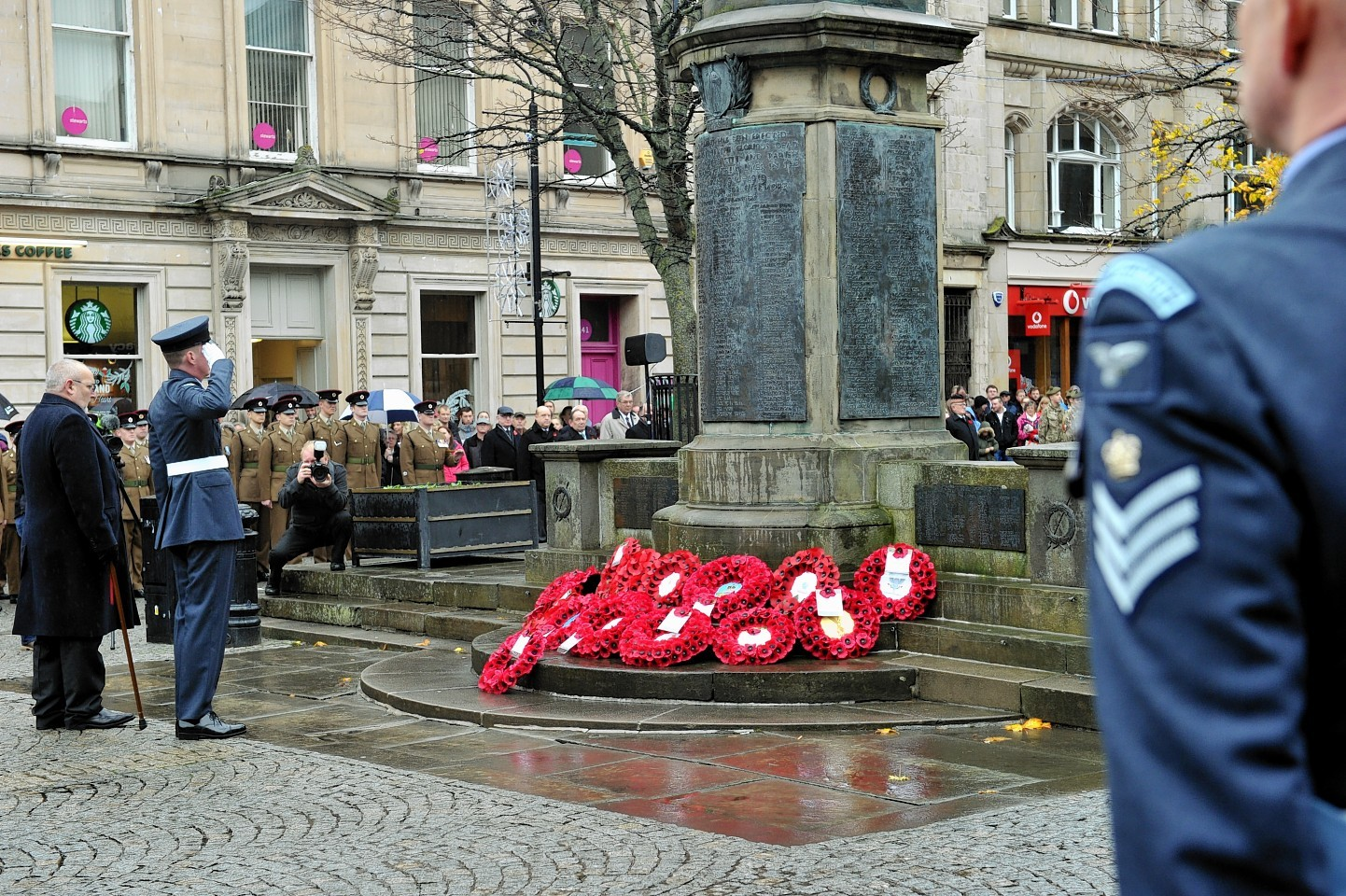 Elgin Remembrance Sunday parade to the War Memorial on the Plainstones, Elgin. Picture by Gordon Lennox
