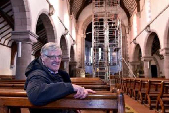David Fleming inside St James Church, Stonehaven