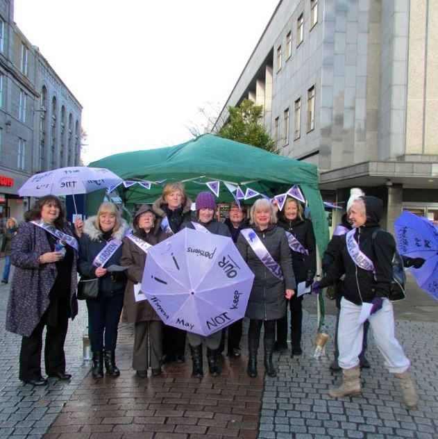 Aberwaspis, the north-east Waspi group, demonstrated in Aberdeen on Saturday.