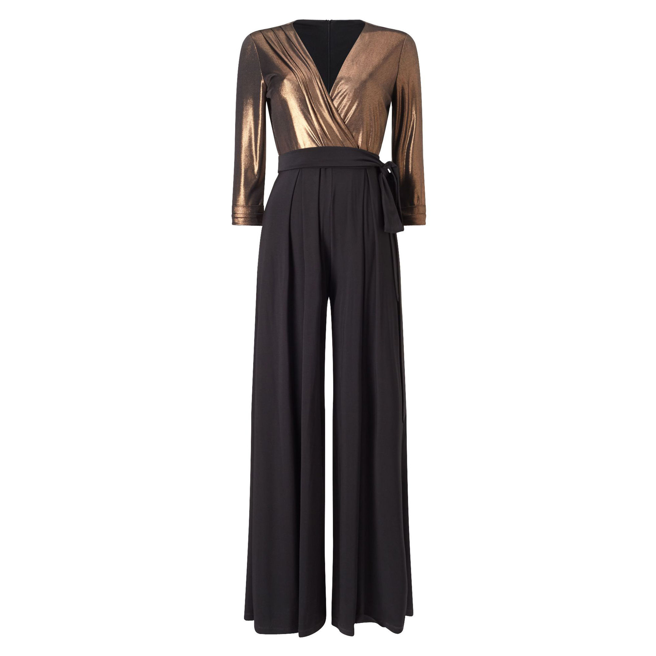 Gilty pleasure... Bronze Wrap Jumpsuit, £120, Phase Eight (www.phase-eight.com)