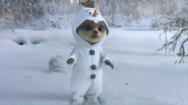 Oleg, dressed as the film's snowman character Olaf, and Ayana build a snowman to Frozen song Let It Go before waking up back at home in bed.
