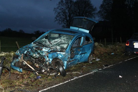 The crash on the A862 road involved three vehicles