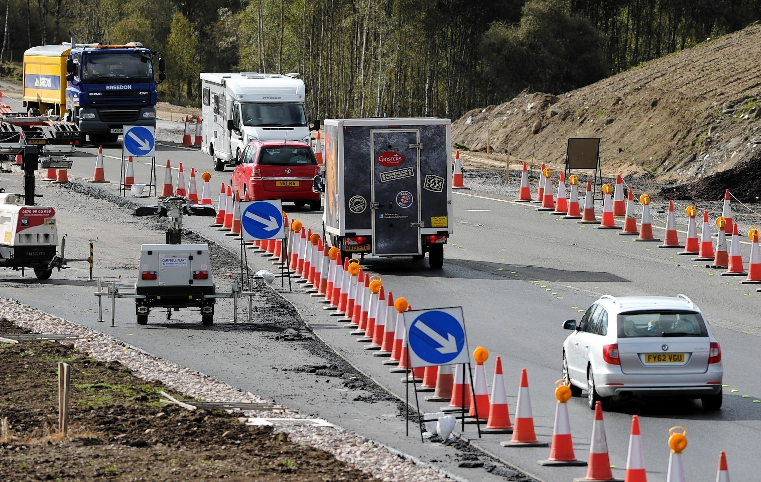 Previous roadworks on the A9 between Kincraig and Dalraddy during the construction of the dual carriageway