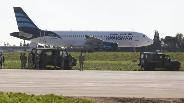 The hijacked plane on the runway in Malta