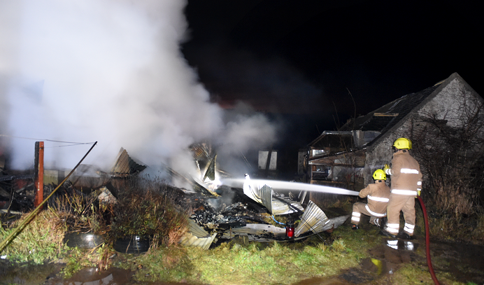 Firefighters tackle a blaze at a shed near Forgue (pic by Kevin Emslie)