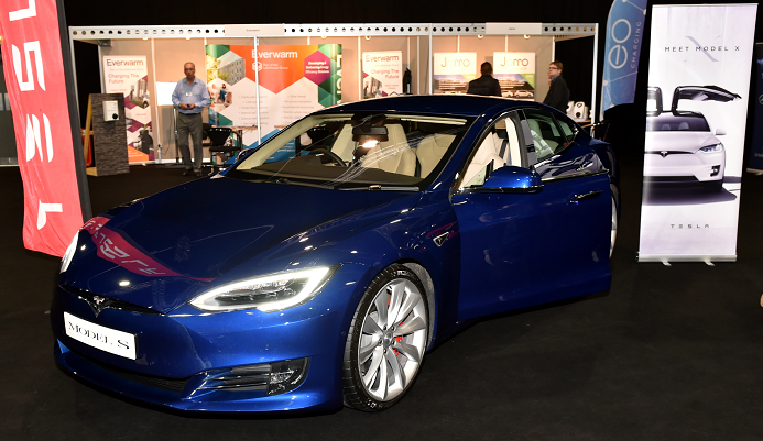 Tesla Model S electric car on display at the AECC