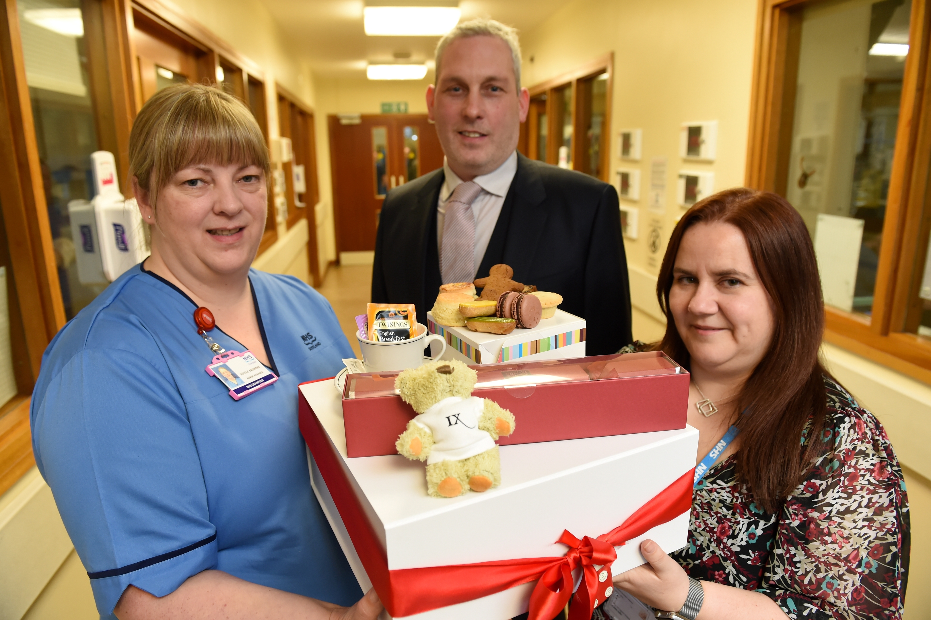 Picture of (L-R) Nicole Bauwens (Neonatal Unit), Graham Wood (Chester Hotel) and Annie Roberts.  Picture by Kenny Elrick.