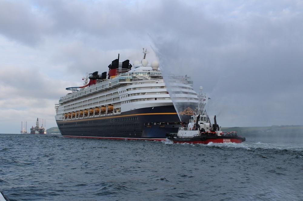 The Disney Magic cruise liner arriving in Invergordon in 2016.