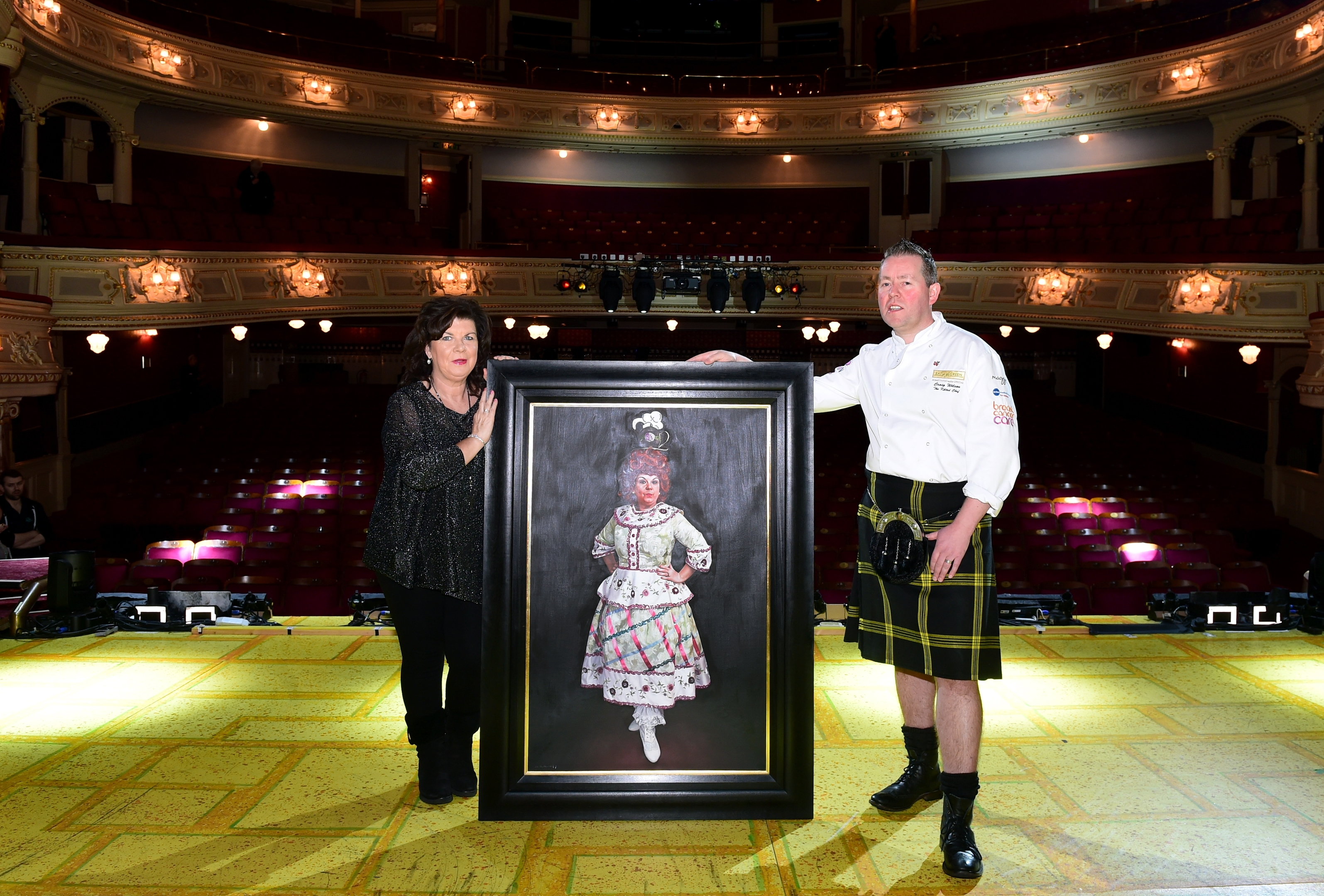 Elaine C Smith at HMT with the kilted chef, Craig Wilson and her portrait.
