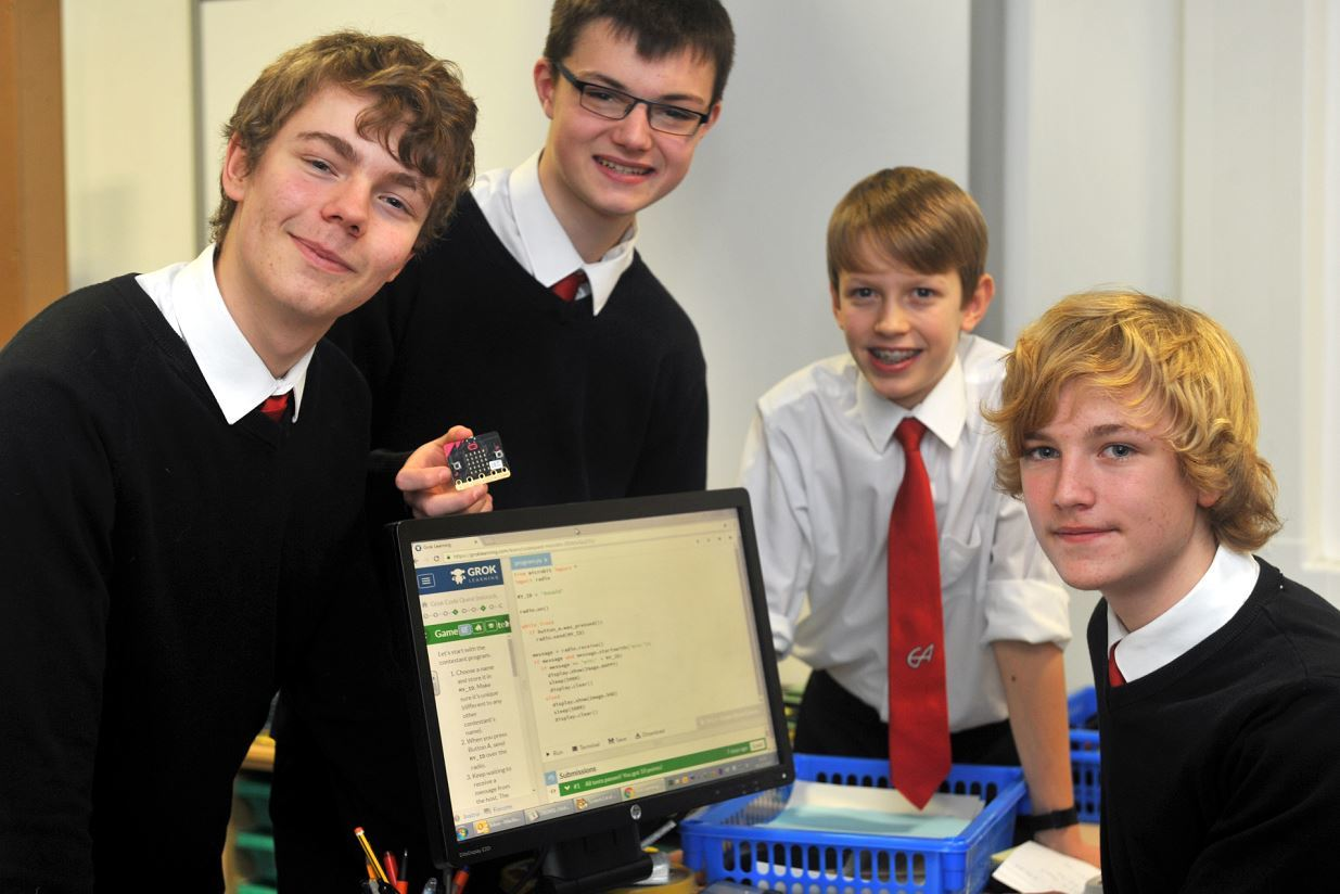 S3 pupils from Elgin Academy came first in a competition for computer coding. L-R: Matthew Hamilton, James Orr, Daniel Campbell, and Adam Govier.