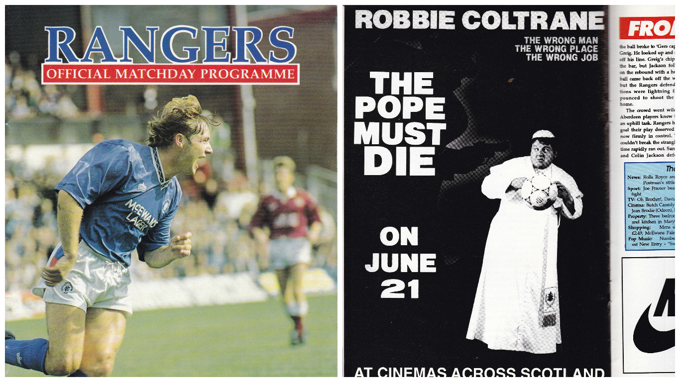 The booklet, featuring an advert for the film The Pope Must Die, starring Robbie Coltrane, went under the hammer yesterday.