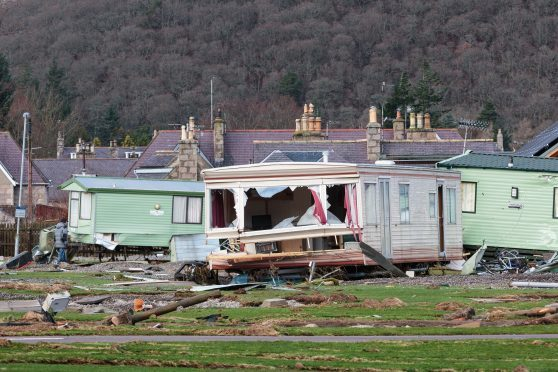 The aftermath of Storm Frank after floods wiped out the Caravan Park in Ballater