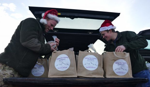 Grampian estate workers have joined ranks with colleagues in Angus for the Game for Giving partnership to provide 97 families in the area with Christmas dinner.
