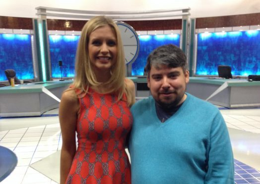 Andrew MacLeod with Countdown star Rachel Riley.