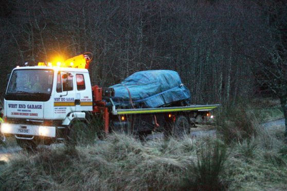 The car being taken away after the crash