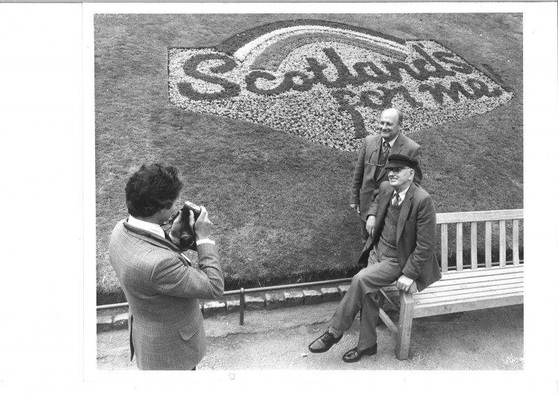 Judges Patrick Linton and James Bruce visit Aberdeen in 1983 as the city competes in a Scottish Tourist Board competition