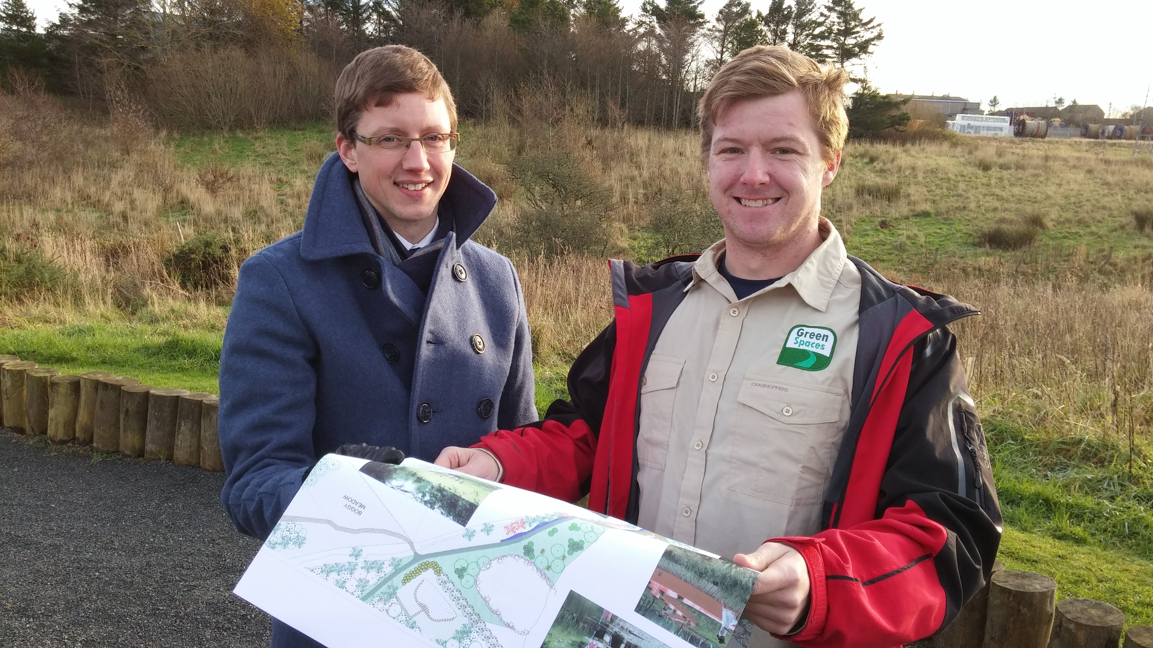 Green Spaces Officer Lewis Swales (right) and Aberdeenshire Council's Buchan Area Project Officer Robert McGregor are pictured at Collieburn