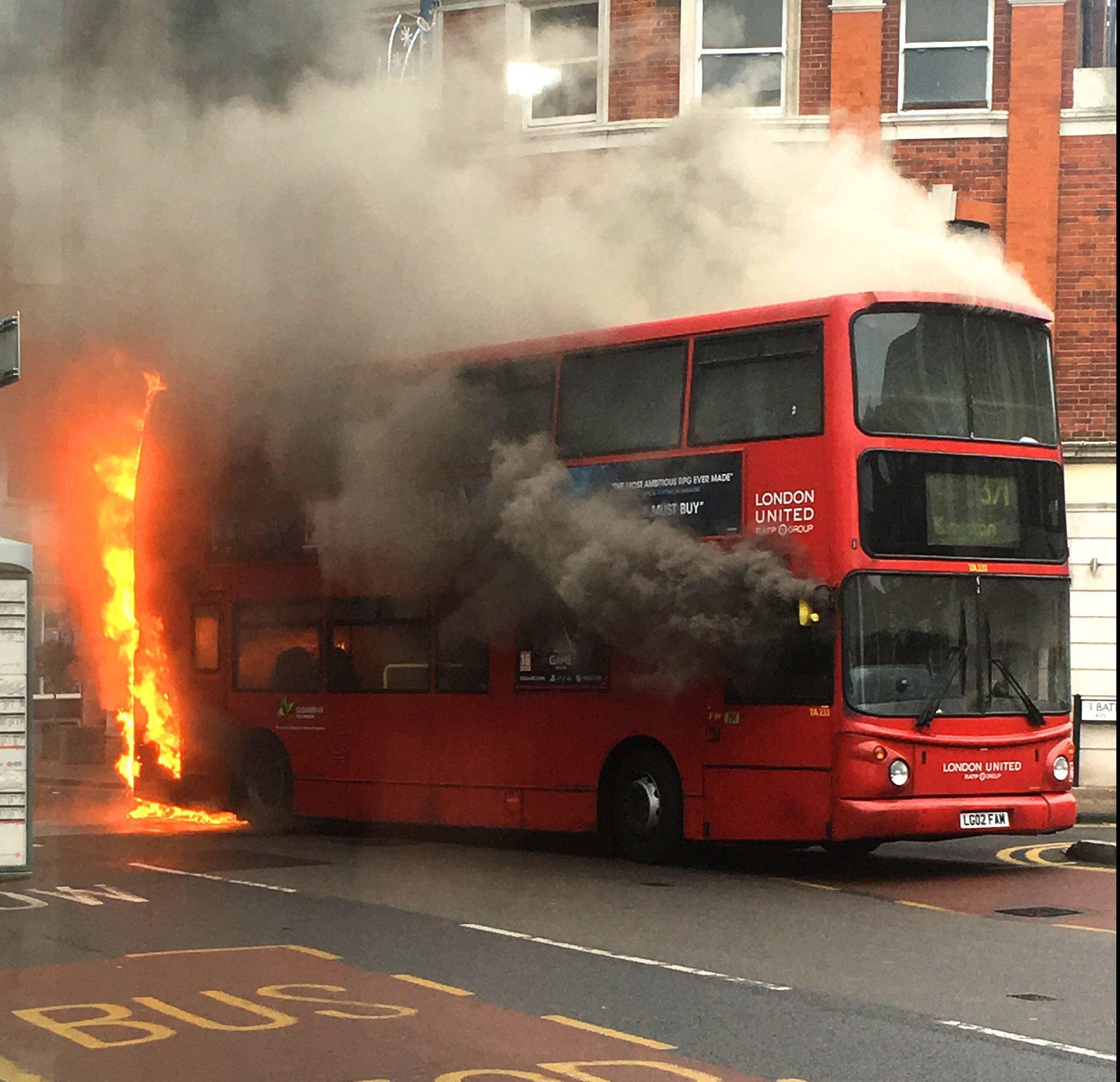 A bus on fire in Kingston, south west London.