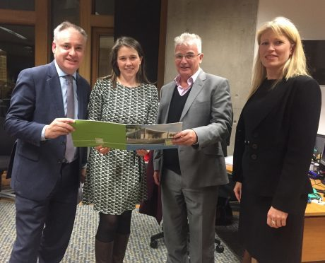 Moray MSP Richard Lochhead, sports minister Aileen Campbell, and the Moray Sports Foundation's Sandy Adam and Kathryn Evans.