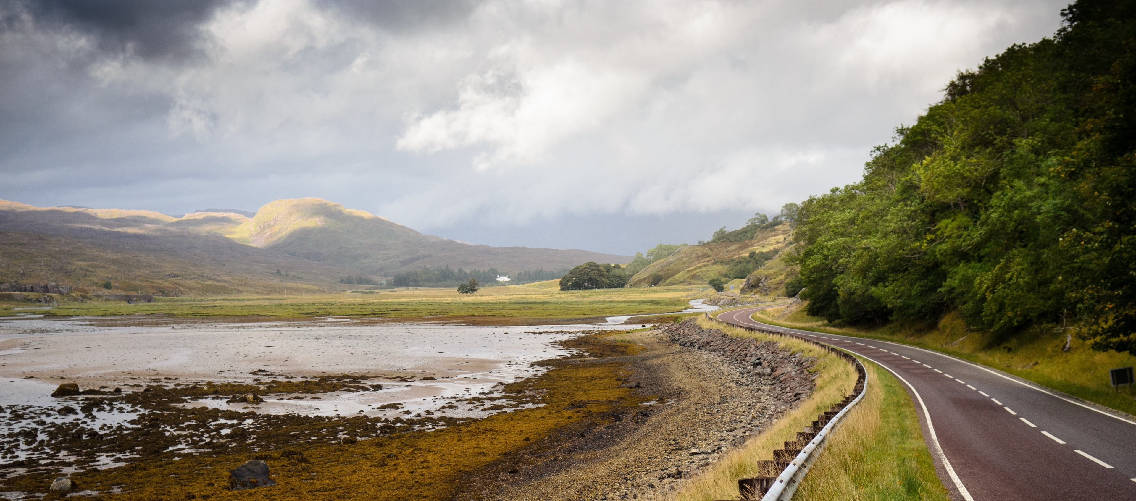 The A896 road to Torridon at Tornapress near Kishorn in Wester Ross.