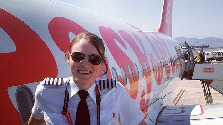 EasyJet's Kate McWilliams, believed to be the world's youngest ever commercial airline captain at just 26. The airline has pledged to increase the number of female pilots, setting a new target after receiving an increasing number of applications from women.