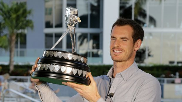 Andy Murray with the Sports Personality of the Year trophy at The Conrad Miami Hotel, Miami (BBC)