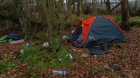 Workers have taken to living in tents near the Amazon warehouse in Dunfermline