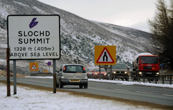 The A9 has been closed just north of Sloch Summit