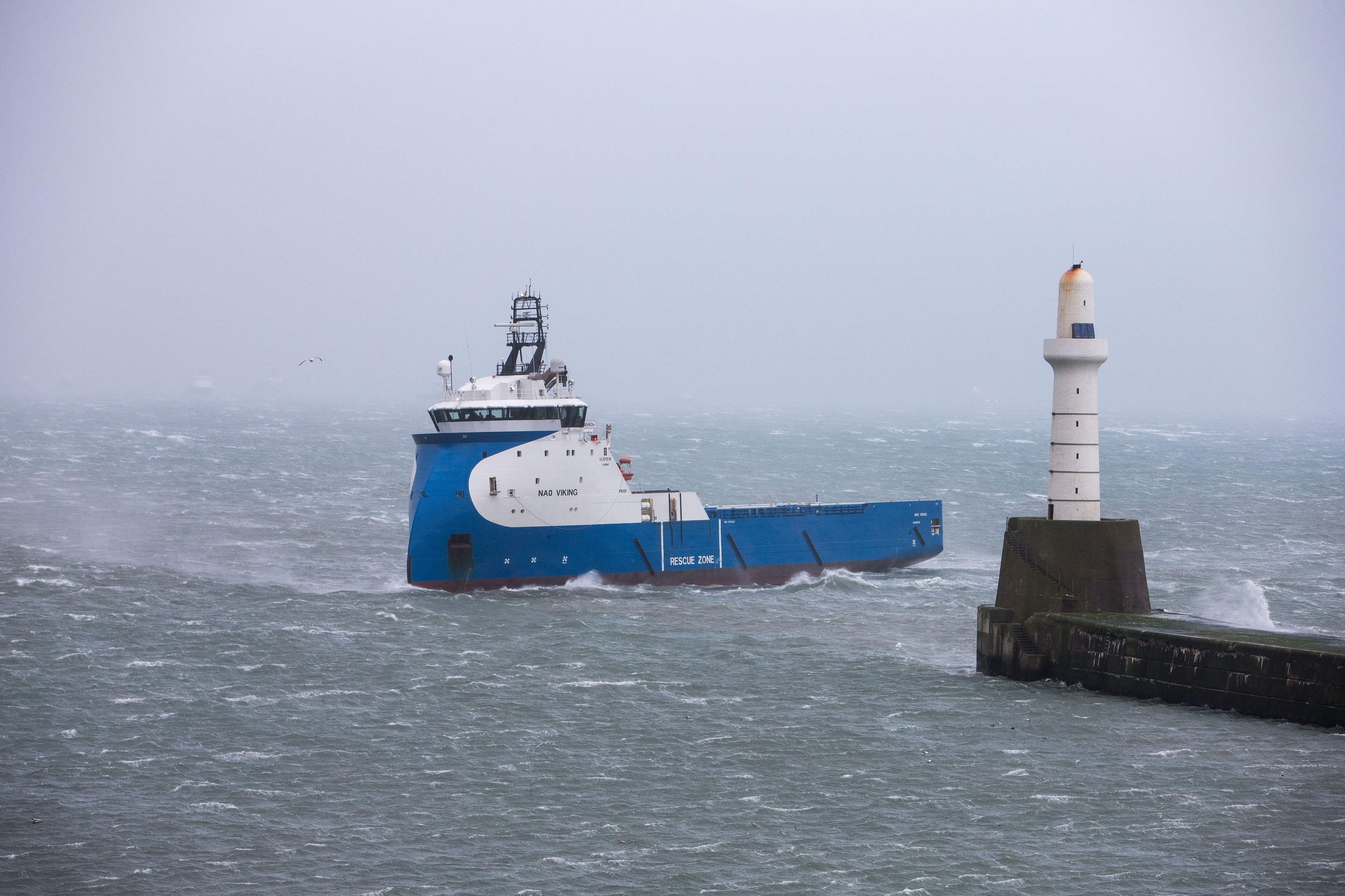 A offshore supply vessel struggling with the conditions on its return to Aberdeen Harbour.