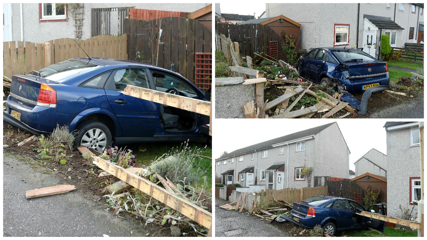 A blue Vauxhall Vectra left the road and ended up in the garden, just a few feet from the front door of the house.