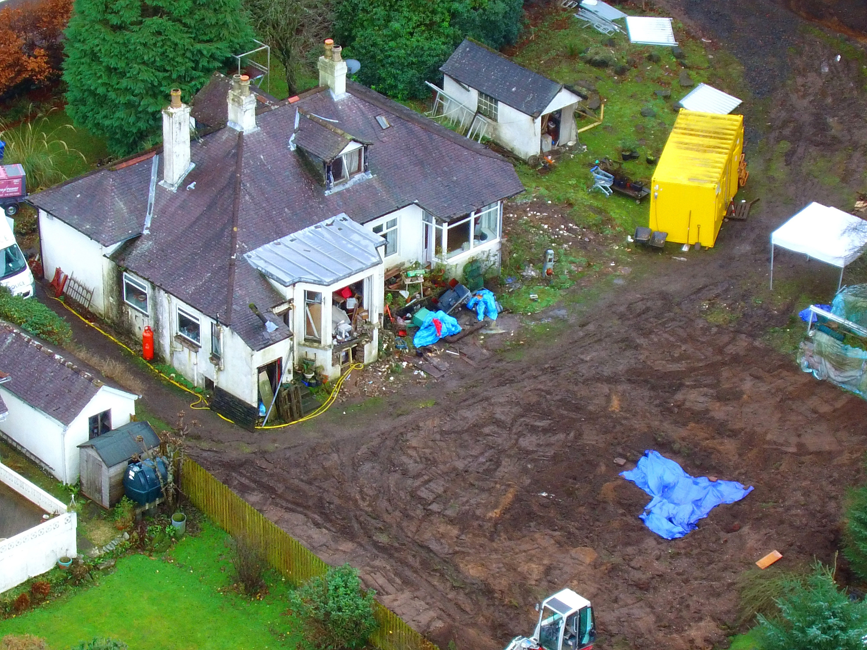 Aerial view of the police search at home of Margaret Fleming in Inverkip, Inverclyde.