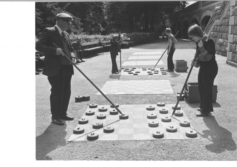 Everything to play for at the start of another game of draughts squares in 1974