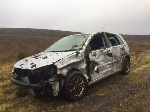 One of the cars after crashing on Shetland