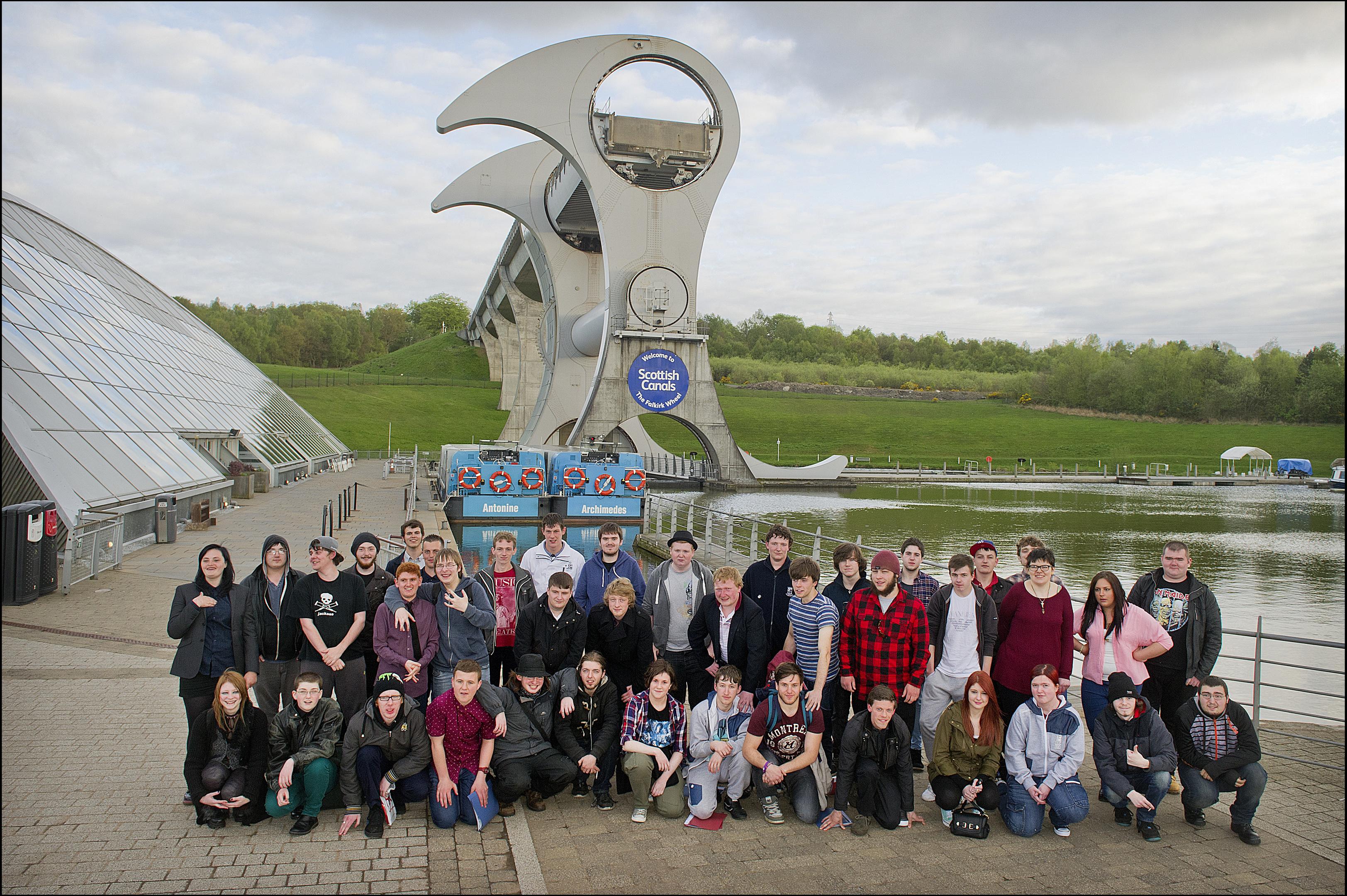 Scottish Waterways Trust, Canal College graduates gathered at Falkirk Wheel.