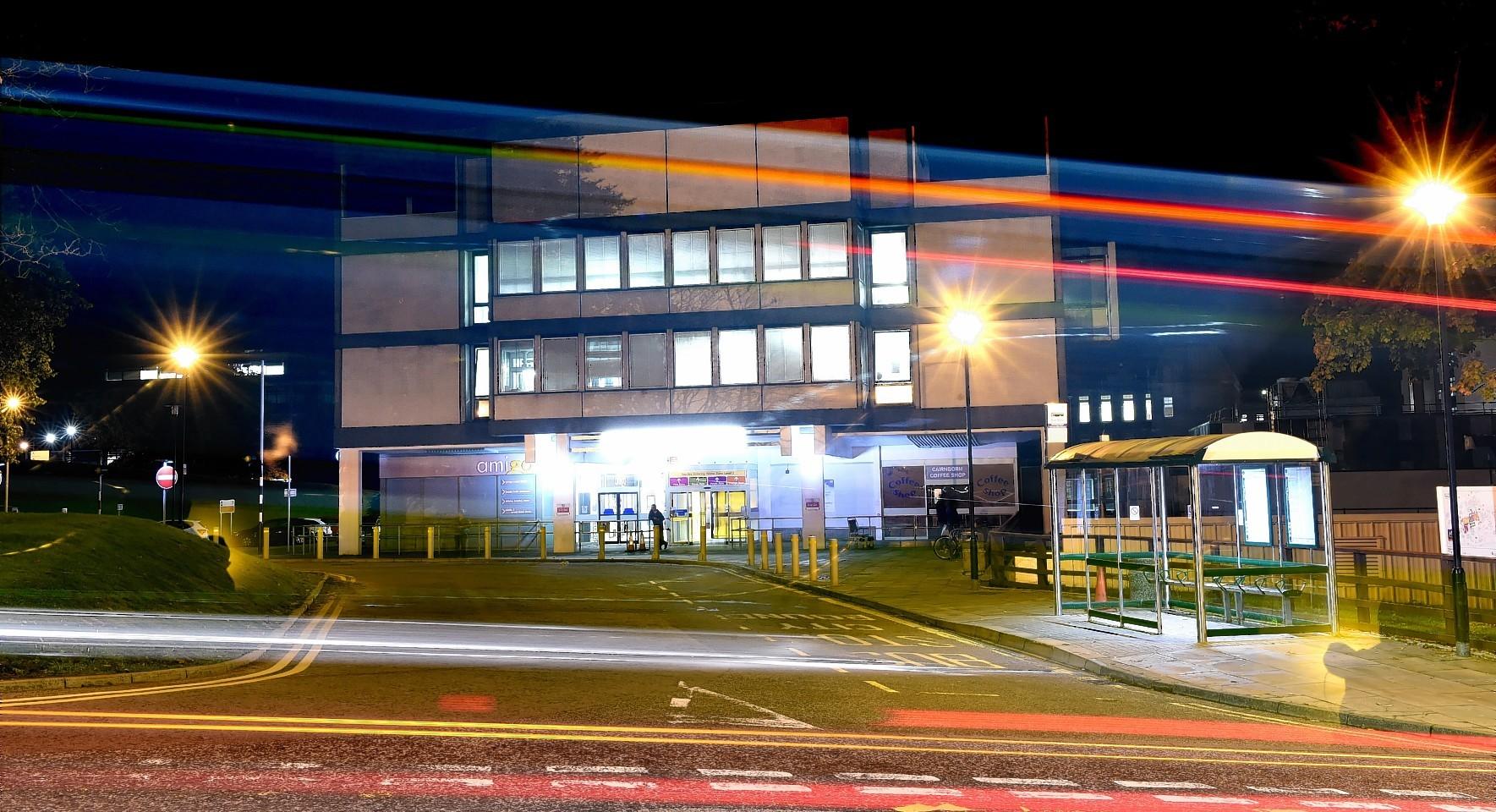 Aberdeen Royal Infirmary (ARI) at night.