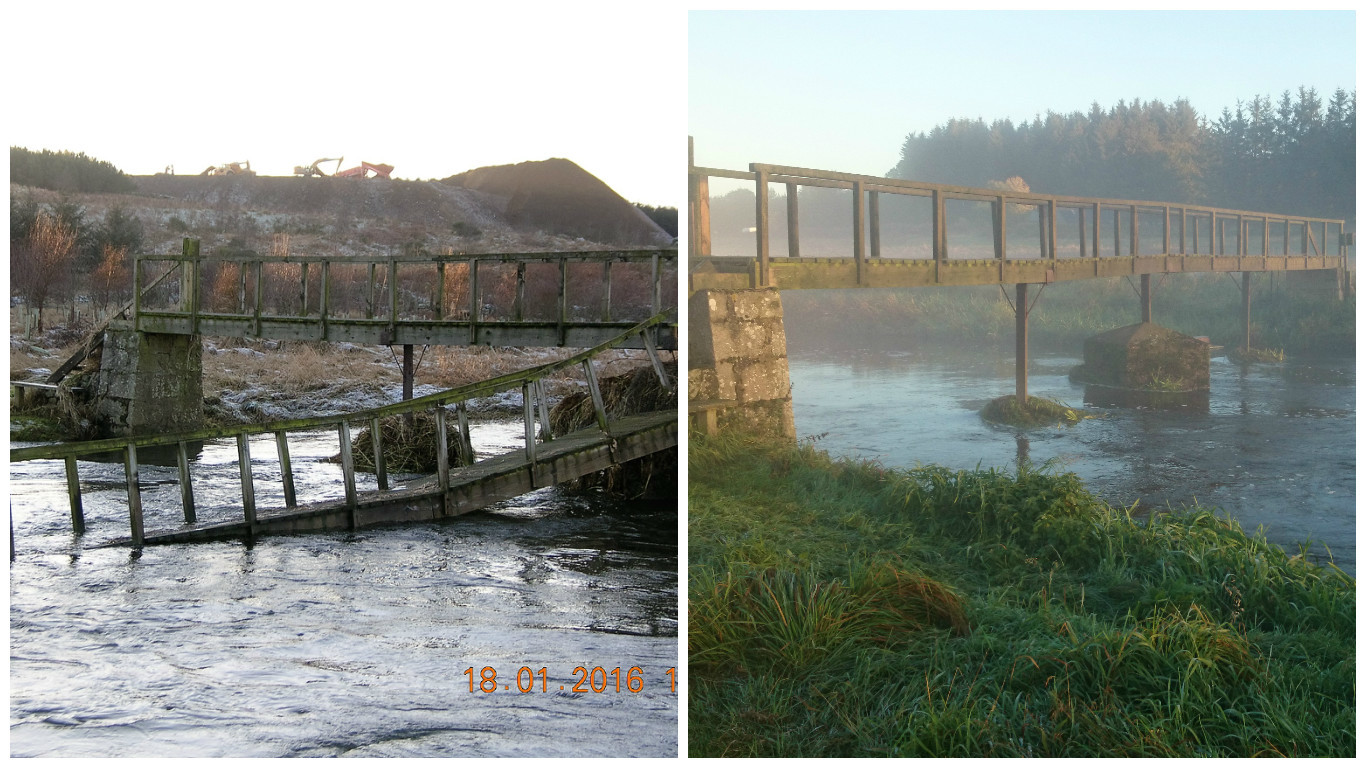 The Ardlethen footbridge before and after the floods
