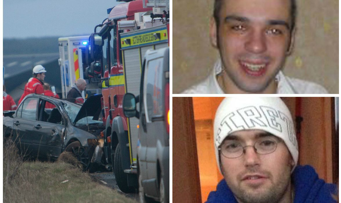 Gavin Farquhar (bottom) died in the crash caused by Marc McDonald (top)