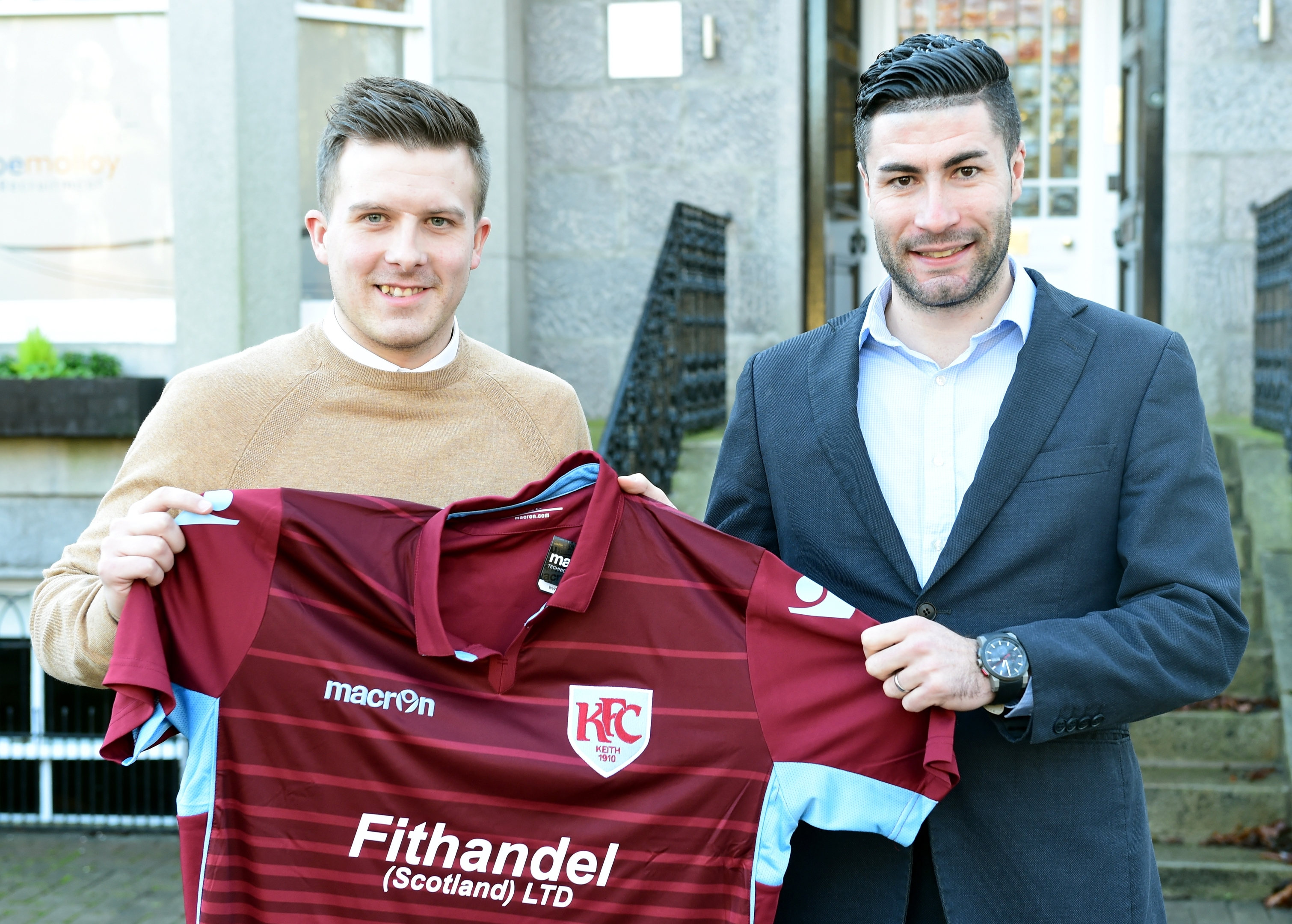 Keith FC manager Allan Hale (left) with new signing Cammy Keith who is returning to the club after a number of years away.    Picture by Kami Thomson