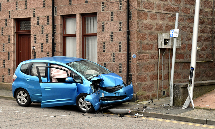 The remains of the Honda Jazz