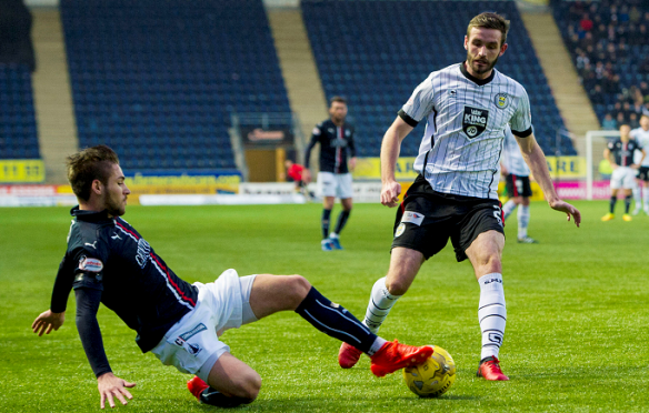 Naismith (right) in action against Falkirk in December (SNS)