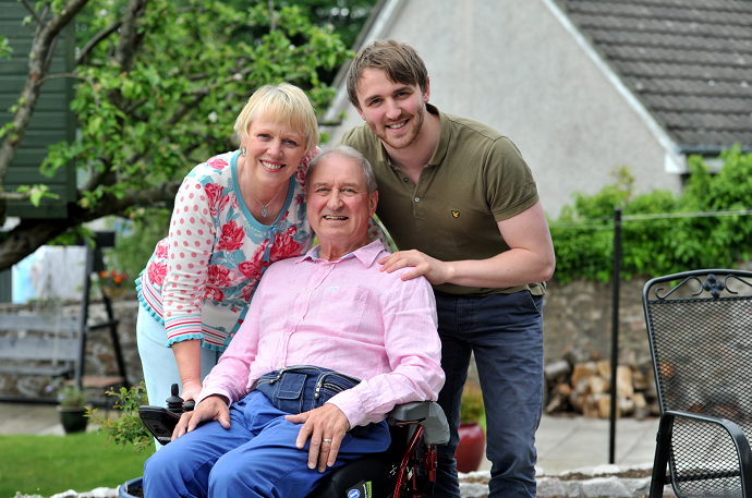 Pictured from left are wife Mary Black, Stephen and son Ewan